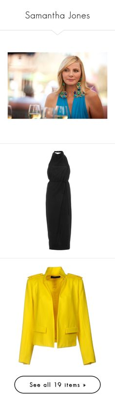 """Samantha Jones"" by chlo-e-official ❤ liked on Polyvore featuring dresses, black, pencil dresses, halter neck evening dress, holiday cocktail dresses, evening pencil dress, halter evening dress, outerwear, jackets and blazers"