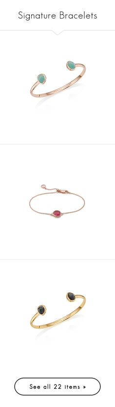 """Signature Bracelets"" by monicavinader ❤ liked on Polyvore featuring jewelry, bracelets, cuff bangle, thin bangles, rose jewelry, rose jewellery, monica vinader, monica vinader jewellery, pink jewelry and pink quartz jewelry"