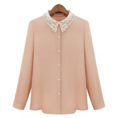 Beaded Lace Collar Single Breasted Shirt