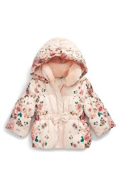 Armani Junior 'Floral Puffer' Coat with Removable Collar and Hood (Baby Girls) available at #Nordstrom