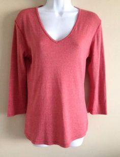 Michael Stars Maternity Shirt Red Orange Shine Top 3/4 Sleeve One Size Fits Most
