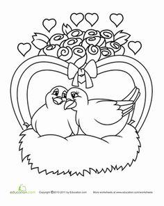Valentine's Day Kindergarten Holiday Worksheets: Color the Love Birds