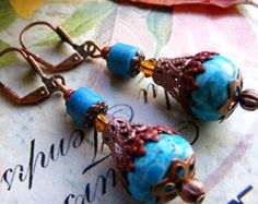 Arabesque Turquoise dangle drop filigree rusty earrings, shabby style, beaded earrings, gift for her, boho ethnic bohemian sale