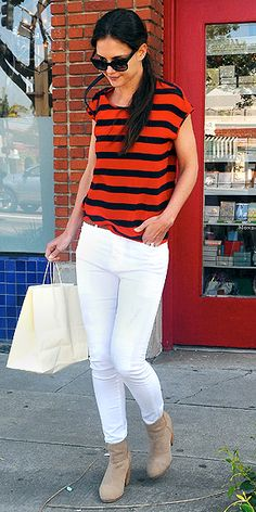 Bright stripes with white pants. Would choose black or matching color shoes.