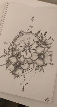 clock - Tattoo ideen - Tattoo Designs For Women Cute Tattoos, Flower Tattoos, Body Art Tattoos, Small Tattoos, Sleeve Tattoos, Tiny Tattoo, Clock Tattoos, Ship Tattoos, Tattoos Pics