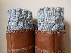 Hand Knitted Boot Cuffs Leg Warmers 2in1 Cream and by MyKnitCroch, $26.00