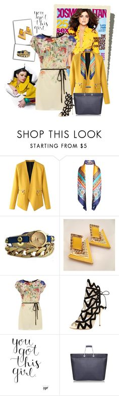 """""""Yellow Blazer With Zipper"""" by autumn-soul ❤ liked on Polyvore featuring WithChic, Retrò, Dorothy Perkins, Sophia Webster, women's clothing, women's fashion, women, female, woman and misses"""