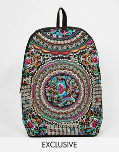 Image 1 of Reclaimed Vintage Embroidered Backpack in Blue floral Pattern