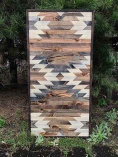 Rustic Aztec Tribal Print Quilt Wood Pattern Wall Art