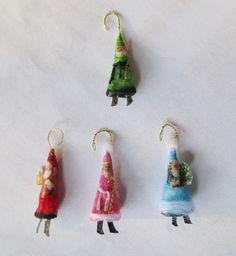 diy miniature Christmas ornaments - traditional St.Nicks - dollhouse Christmas tree