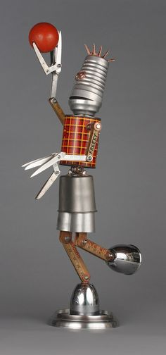 basketball player - found object robot assemblage sculpture brian marshall | by adopt-a-bot