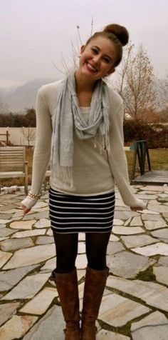 sweater, mini, tights, boots, scarf. fall perfection