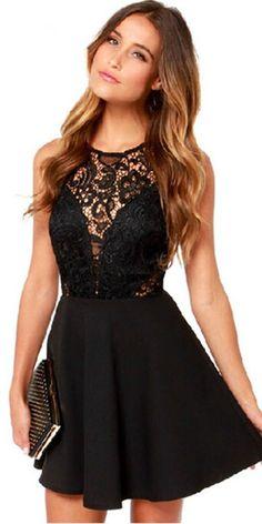 Sexy Backless Lace Spliced Sleeveless High Waist Dress