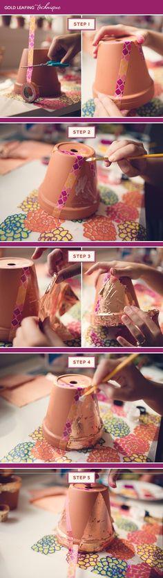 Gold Leaf Terra Cotta Pot