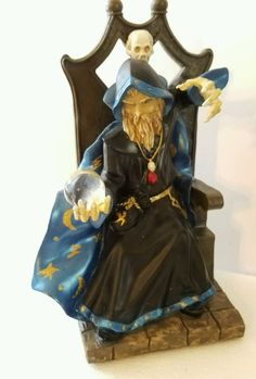NIB ALABASTRITE Merlin Throne Magical Crystal Ball Halloween Wizard Figurine