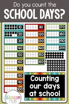 Do you count the school days with your students? Maybe you celebrate 100 days of school. Using this wall chart,. Kindergarten Classroom Setup, Classroom Organisation, First Grade Classroom, 1st Grade Math, Teaching Kindergarten, School Classroom, Classroom Ideas, Kindergarten Calendar Math, Kindergarten Routines