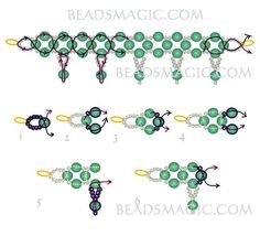 FREE Pattern for Necklace FIROZA. Page 2/2. Use: seed beads 11/0, round beads 6mm. BeadsMagic