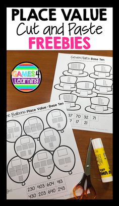 Place Value Cut and Paste Freebies - 2 digit numbers with tens and ones and 3 digit numbers with hundreds, tens and ones - base ten blocks. Base Ten Activities, First Grade Activities, Math Activities, Math Games, First Grade Classroom, 1st Grade Math, Math Classroom, Second Grade, Grade 1