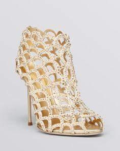 Sergio Rossi Mermaid Swarovski Crystal High Heel Caged Sandal Booties #sergiorossiheels #sergiorossibooties