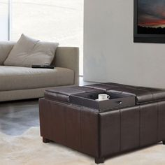 Sofa Sleeper Shop for Adeco Brown Bonded Leather Square Storage Ottoman with Serving Trays u