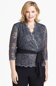 Alex Evenings Three Quarter Sleeve Metallic Lace Blouse (Plus Size ...