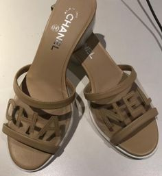 "Alina Romero on Instagram: ""Chanel beige logo transparent clear heel slide shoes size 37 #chanel #chanelshoes #chanelsandals #chanellogosandals"