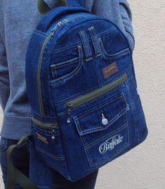Unique Patchwork Upcycled Eco Jeans Denim Backpack Sailor Bag with Pockets Jean Backpack, Backpack Bags, Fabric Bags, Denim Fabric, Mochila Jeans, Sewing Jeans, Jean Purses, Denim Handbags, Denim Ideas