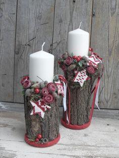 Skandináv rönkök - karácsonyi hangulatú gyertyatartó, Dekoráció, Otthon, lakberendezés, Ünnepi dekoráció, Gyertya, mécses, gyertyatartó, A hidegebb idők beálltával bekukkantottam a fáskamrába, hogy felmérjem a tűzifa helyzetet. Ot..., Meska