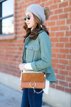 Outfit Ideas, Style Inspiration, Winter Fashion, Chloé Faye Bag, Pom Beanie, Flare Jeans