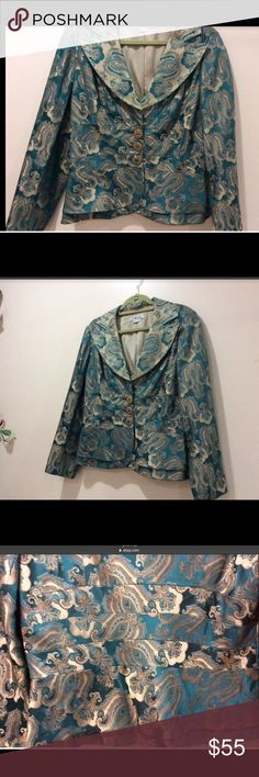 FINAL PRICE🌹🌹KAY UNGER SILK JACKET SIZE 16 Women's Kay Unger turquoise and gold WOMENS silk jacket size 16 (runs small). Used twice, good condition. Smoke and pet free home. Kay Unger Jackets & Coats Blazers