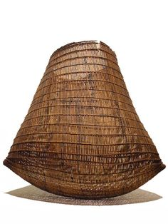"""BI-CORNUAL QUEENSLAND BASKET  Dimensions: Height 12"""" Width 14"""" Provenance: Muralambeen Homestead Collection - Far North Queensland Ex- Private Collection Qu    Very Rare Bi-Cornual Queensland Aboriginal Basket, very finewoven lawyer cane with natural earth pigments. It was very difficult to capture an image to elaborate the beauty of the faded pigments due the the cavities between rattan strips. If you look close enough you will see the remaining pigments and design."""