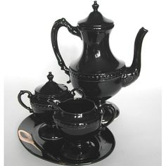 Black ceramic tea set