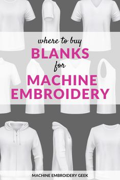 Where can you buy blanks (plain colored) clothing for embroidery and applique? Check out these ten suppliers and their amazing blanks. Machine Embroidery Gifts, Embroidery Blanks, Embroidery Supplies, Crewel Embroidery, Silk Ribbon Embroidery, Machine Embroidery Designs, Embroidery Ideas, Brother Embroidery, Applique Designs