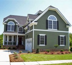 40 Exterior House Colors With Brown Roof Sage Green