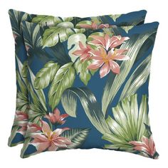 Better Homes & Gardens Teal Breezy Tropical 16 in. Square Outdoor Toss Pillow Set of 2 Outdoor Furniture Sets, Toss Pillows, Outdoor Fabric, Beautiful Outdoor Living Spaces, Patio Cushion Covers, Durable Outdoor Fabric, Pillow Set, Pillows, Patio Cushions Outdoor