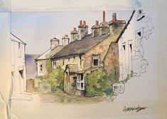 A workshop piece from St Roberts Art group Harrogate: cottages in Grassington, Yorkshire. by John Harrison, artist Watercolor Painting Techniques, Pen And Watercolor, Gouache Painting, Watercolor Landscape, Landscape Art, Painting & Drawing, Landscape Paintings, Watercolor Paintings, Watercolours