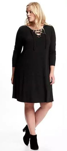 Plus Size Lace-Front Swing Dress