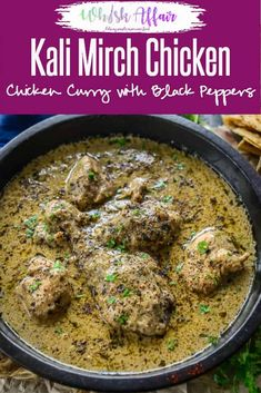 Chicken Kali Mirch or Murgh Kali Mirch is a spicy thick gravy that is cooked with loads of black pepper. It can be enjoyed with rice or roti. via WhiskAffair Fried Fish Recipes, Veg Recipes, Curry Recipes, Cooking Recipes, Lamb Recipes, Recipies, Indian Chicken Recipes, Indian Food Recipes, Indian Chicken Gravy Recipe