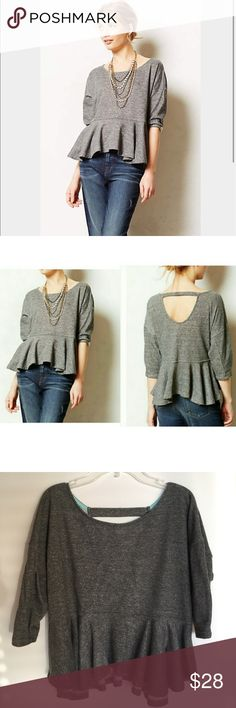Anthropologie peplum sweatshirt-size small Anthropologie gray peplum sweatshirt by Saturday Sunday - size small. Good preloved condition. Weekends call for cozy, throw-on-and-go pieces that can take you from morning lounge seasons to afternoon excursions. Saturday/Sunday's peplum sweatshirt is perfect for the job. Pullover styling. Machine wash. Cute and comfy! Anthropologie Tops Sweatshirts & Hoodies