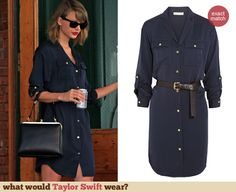Taylor Swift's navy blue shirtdress. Outfit Details: http://wwtaylorw.com/3016