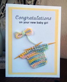 Ideas baby shower card congratulations paper crafts for 2019 Baby Girl Cards, New Baby Cards, Baby Congratulations Card, Karten Diy, Baby Shower Cards, Kids Cards, Creative Cards, Scrapbook Cards, Homemade Cards
