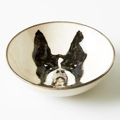 FRENCHIE BOWL Earthenware, Cute Gifts, Dog Bowls, French Bulldog, Hand Painted, Black And White, Trays, Dresser, Jewelry