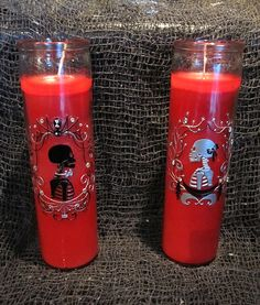 Bride and Groom Candle Set Horror Gothic by nightmaresknickknack Unique Candle Holders, Candle Set, Eclectic Wedding, Gothic Wedding, Glass Containers, Day Of The Dead, Pillar Candles, Wax, Horror