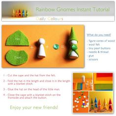 Easy to make, great party favors - Daily Colours : DIY – Rainbow Gnomes. Easy to make, great party favors - Wood Peg Dolls, Clothespin Dolls, Waldorf Crafts, Waldorf Toys, Felt Crafts, Diy And Crafts, Diy For Kids, Crafts For Kids, Wooden Pegs