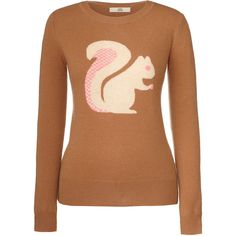 Orla Kiely Squirrel Intarsia Sweater ($120) ❤ liked on Polyvore featuring tops, sweaters, long sleeves, shirts, coffee, orla kiely, extra long sleeve shirts, shirt sweater, beige long sleeve shirt and intarsia sweater