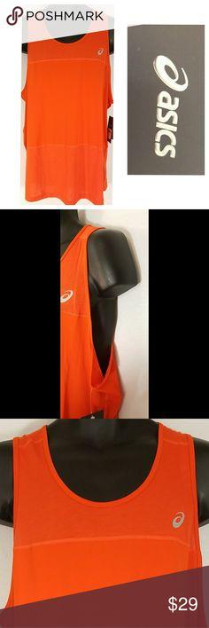 Asics Mens MR2808 Dry Tank ASICS ASX MensDry Running AthleticTank  XL  Color: Cone Orange 0540  MR2808  MRSP $36  93% Polyester, 7% Spandex  Sleeveless  Smoke-Free, Pet-Friendly Home Asics Shirts Tank Tops