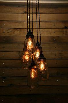 5 Jar Pendant Light Mason Jar Chandelier by IndustrialRewind