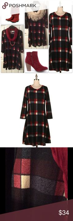 FALL PREVIEW Plaid Dress Plaid Navy Brush Knit 3/4 Sleeve Swing Dress- 100% Polyester Dresses