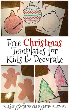 Free Christmas Templates for kids to color and decorate - 5 different templates! Holiday Activities, Holiday Crafts, Activities For Kids, Groundhog Day, Christmas Templates, Child Day, Preschool Crafts, Birthday Celebration, Special Day