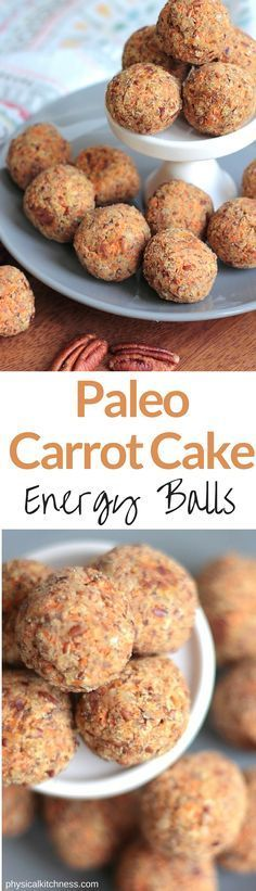These paleo carrot cake energy balls are simple, delicious and packed with nutrients. Try them as a morning snack, afternoon treat, or pre-workout fuel! Gluten-free, grain-free, dairy-free, refined-sugar free